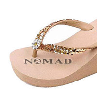 Shoes, Fashion, By, In, 3, Natural, Bling, Flip, Flops, Platform, Wedge, Nomad