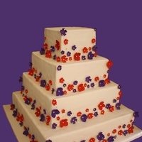 Flowers & Decor, Cakes, white, red, purple, gold, cake, Square Wedding Cakes, Square, Flowers, Wedding, Asian, South, Sugar, The hudson cakery