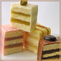 Cakes, white, yellow, pink, brown, cake, Chocolates and confections