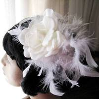 Beauty, Flowers & Decor, white, ivory, Feathers, Accessories, Flower, Romantic, Hair, Bridal, Weddings, Cream, Petals, Headpiece, Gardenia, Glamour, Feather, Flirt, Magnolia, Sophisticated, Originals by lynnette, Flutter