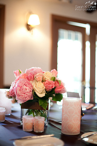 Inspiration, Reception, Flowers & Decor, pink, brown, Candles, Flowers, Board, Serendipity design, Flourish, Damask, Vases, Vellum, Wrapped