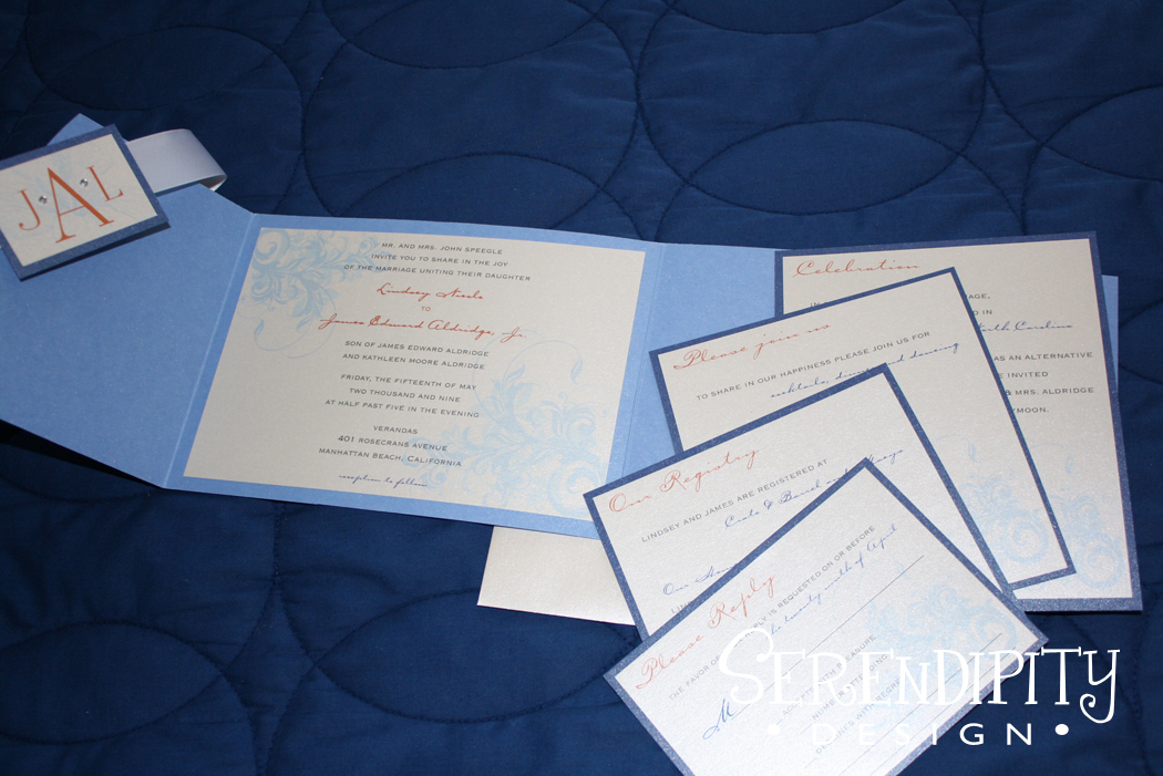 Ceremony, Inspiration, Flowers & Decor, Stationery, white, orange, blue, Ceremony Flowers, Invitations, Flowers, Board, Serendipity design, Pocketfold, Design, Invite, Rhinestones, Swirls, Metallic, Serendipity