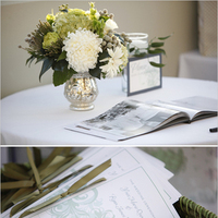 Ceremony, Inspiration, Flowers & Decor, white, green, gray, Ceremony Flowers, Flowers, Programs, Board, Ribbon, Serendipity design, Swirls, Folded