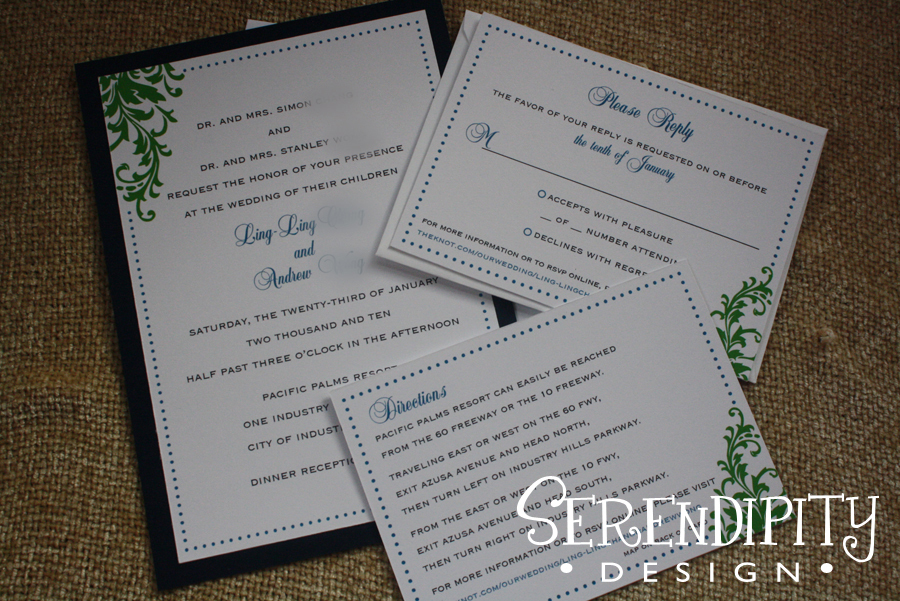 Ceremony, Inspiration, Flowers & Decor, Stationery, white, blue, green, Vintage, Invitations, Board, Serendipity design, Wrap, Flourish, Design, Dots, Swirls, Belly, Vellum, Matte, Panel, Flat, Serendipity, Xoxo, Orante