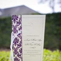 Ceremony, Inspiration, Flowers & Decor, Stationery, white, purple, black, Invitations, Ceremony Programs, Program, Board, Ribbon, Serendipity design, Damask, Metallic, Folded