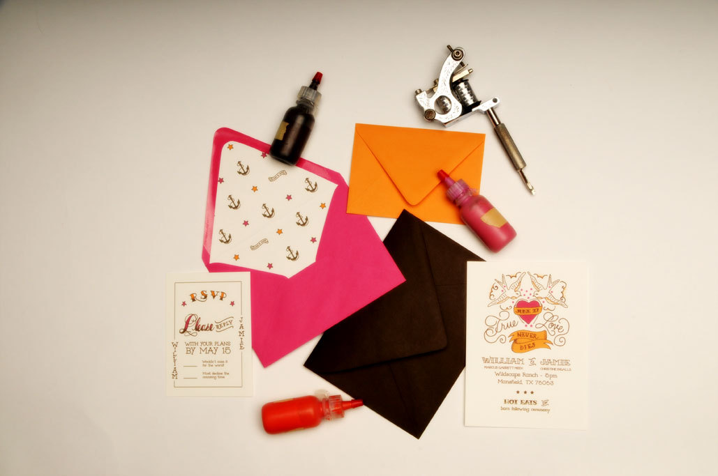 Stationery, white, orange, pink, brown, Invitations, Wedding, Custom, Design, Tattoo, Two little ducks