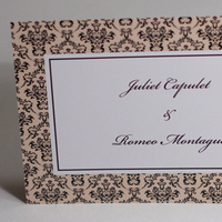 Stationery, white, purple, black, Invitations, Damask, Something green