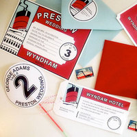 Stationery, Destinations, white, red, blue, green, Cruise, Invitations, Custom, Design, Two little ducks, Steamship