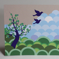 Stationery, blue, green, Invitations, Birds, Something green