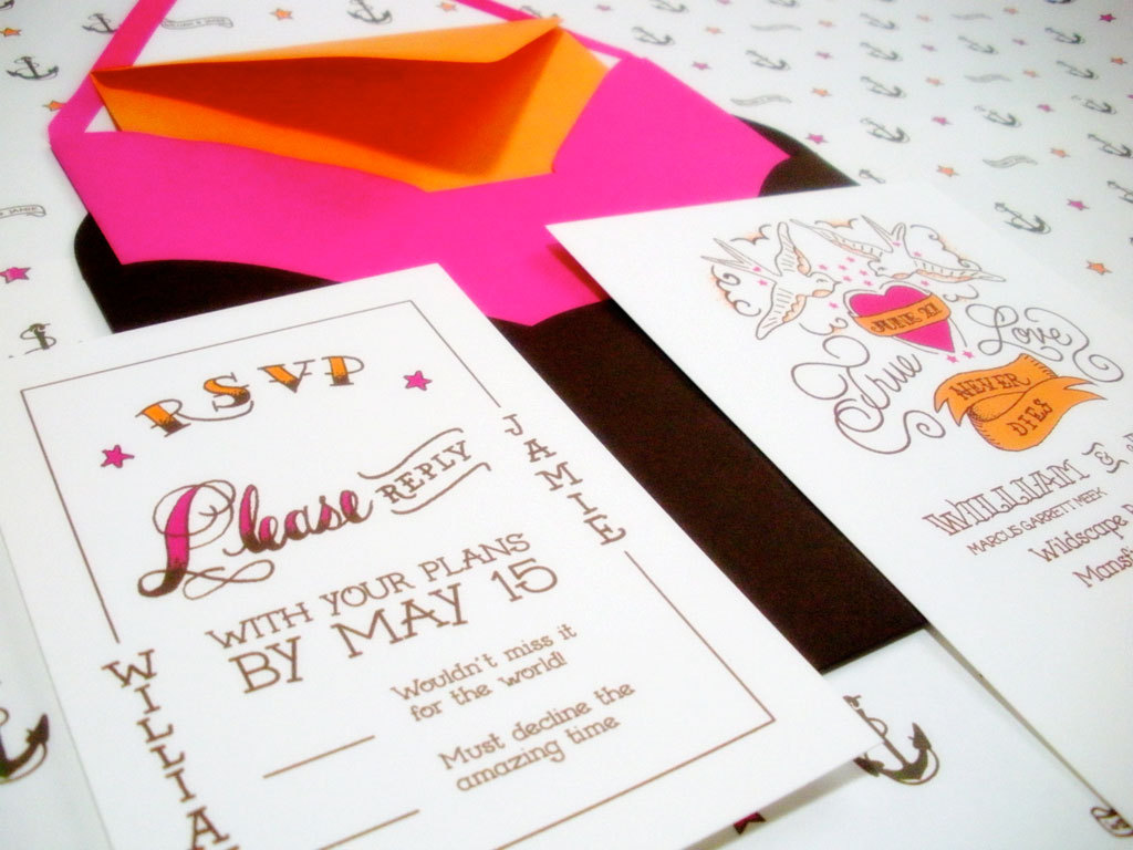 Stationery, white, orange, pink, black, Rustic Wedding Invitations, Invitations, Wedding, Custom, Design, Tattoo, Two little ducks