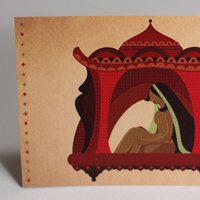 Stationery, red, brown, Cultural, Invitations, Indian, Doli, Something green