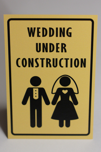 Stationery, yellow, black, Invitations, Something green, Construction workers