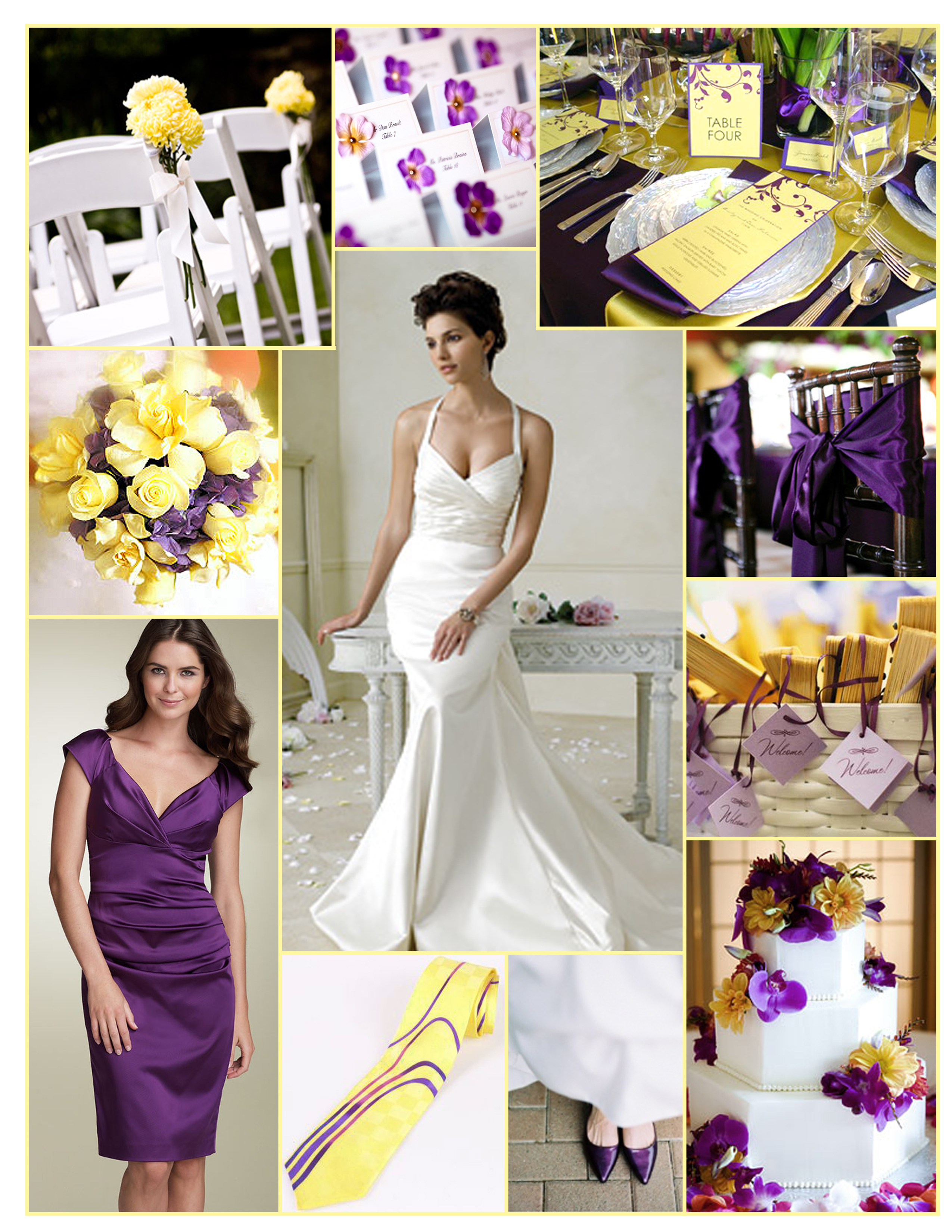 Ceremony, Inspiration, Reception, Flowers & Decor, Bridesmaids, Bridesmaids Dresses, Wedding Dresses, Shoes, Cakes, Fashion, white, yellow, purple, cake, dress, Ceremony Flowers, Bridesmaid Bouquets, Spring, Flowers, Jim hjelm, Board, Nordstrom, Spring Wedding Dresses, Flower Wedding Dresses