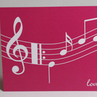 Stationery, white, pink, Invitations, Music, Something green, Music notes