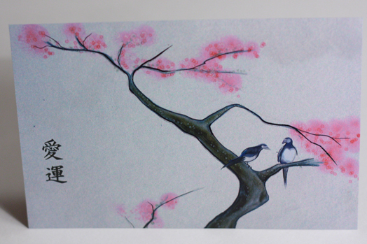 Stationery, white, pink, Invitations, Birds, Cherry blossoms, Japanese, Something green