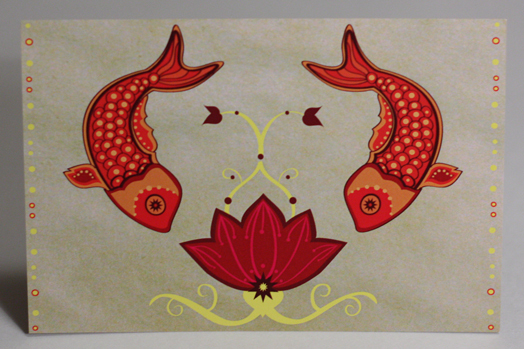 Flowers & Decor, Stationery, orange, pink, brown, gold, Invitations, Flower, Fish, Lotus, Something green