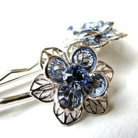 Beauty, Flowers & Decor, Jewelry, Bridesmaids, Bridesmaids Dresses, Wedding Dresses, Fashion, blue, silver, dress, Flower, Hair, Bridal, Something blue, Elegant, Crystal, Swarovski, Sophisticated, Originals by lynnette, Bobby pins