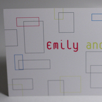 Stationery, white, yellow, pink, blue, Invitations, Retro, Something green