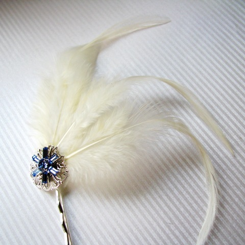 Beauty, Jewelry, white, ivory, blue, silver, Feathers, Accessories, Custom, Hair, Bridal, Elegant, Crystal, Swarovski, Pin, Glamour, Feather, Clear, Sophisticated, Bobby, Originals by lynnette