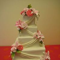 Flowers & Decor, Cakes, white, pink, cake, Flowers, Drapery, The makery