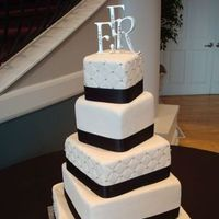 Cakes, white, black, cake, Monogrammed Wedding Cakes, Monogram, Elegant, Tall, The makery, 5-tier, Rotating