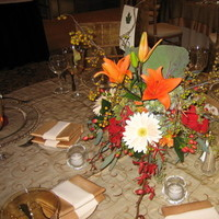 Reception, Flowers & Decor, orange, red, green, gold, Centerpieces, Flowers, Centerpiece, House of flowers