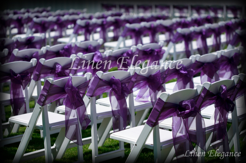Outdoor Wedding Ceremony Chair Decorations Decor Purple Tables Seating Sash Chairs Folding Linen