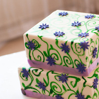 Cakes, white, purple, green, cake, Square Wedding Cakes, Square, Floral, Scroll, Small, Scrollwork, Jennifer hallberg cakes for all occasions