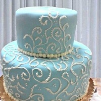 Cakes, white, blue, cake, Round, Scrolls, Scrollwork, Jennifer hallberg cakes for all occasions
