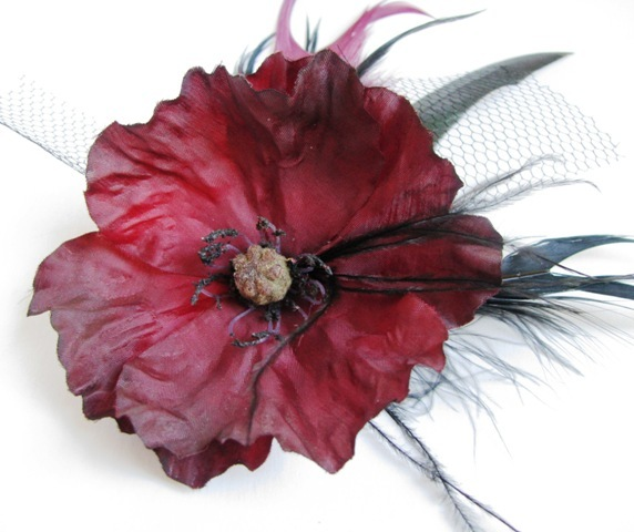 Beauty, Flowers & Decor, Bridesmaids, Bridesmaids Dresses, Fashion, red, burgundy, black, Comb, Flower, Bridesmaid, Hair, Bridal, Floral, Weddings, Gothic, Accessory, Wine, Poppy, Clip, Glamour, Handmade, Trendy, Originals by lynnette