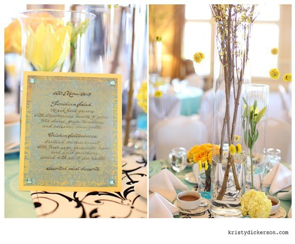 Inspiration, Reception, Flowers & Decor, Calligraphy, yellow, blue, Menu, Board, Dreamweaver calligraphy