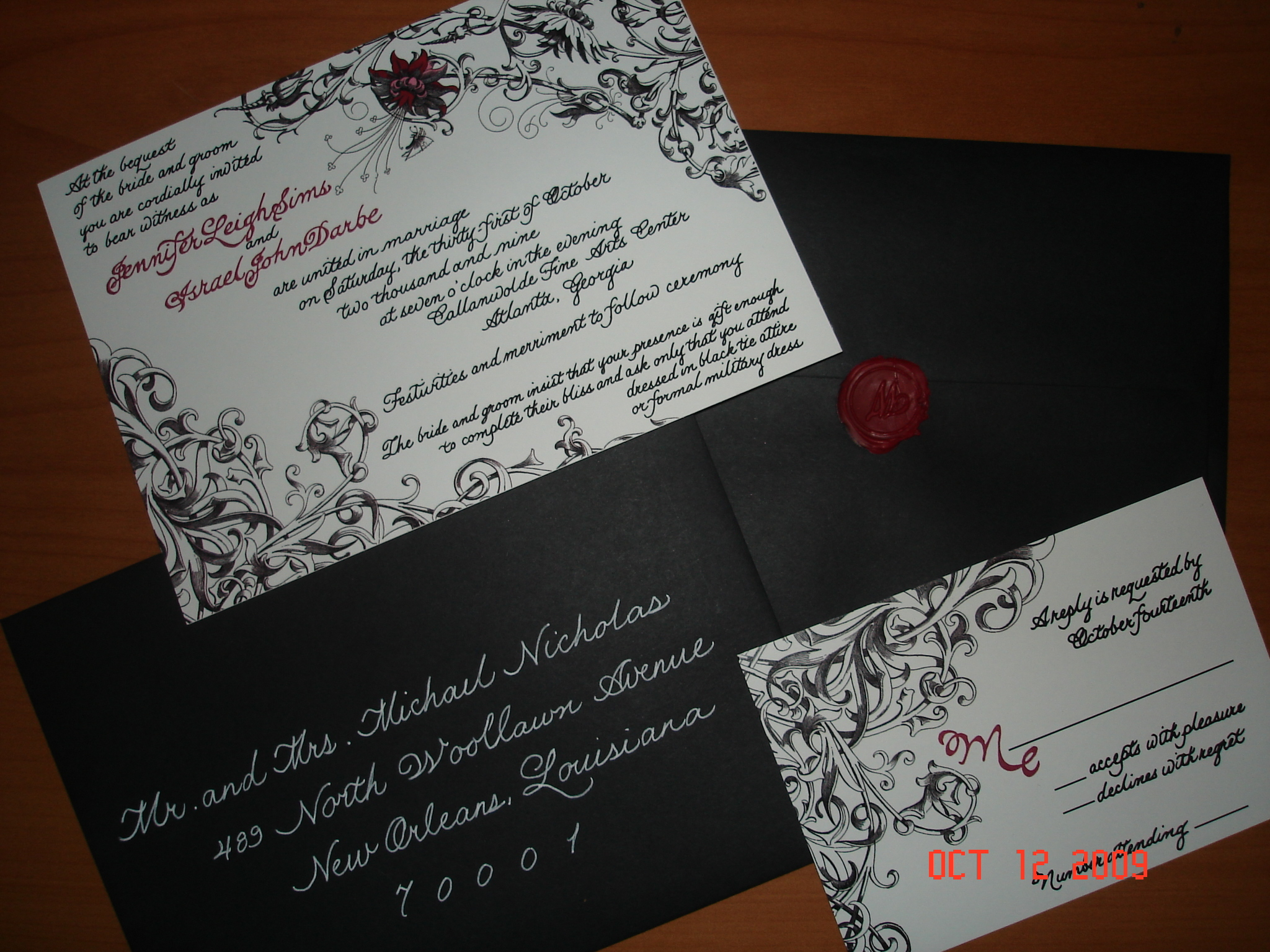 Ceremony, Flowers & Decor, Calligraphy, Stationery, red, black, invitation, Invitations, Wedding, Dreamweaver calligraphy
