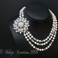 Jewelry, white, silver, Necklaces, Vintage, Pearls, Necklace, Rhinestone, Creations, Inspired, Multi, Strand, Triple, Mikiye creations, Mikiye