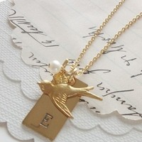 Jewelry, Bridesmaids, Bridesmaids Dresses, Fashion, gold, Necklaces, Bridesmaid, Bird, Necklace, Initial, Lovebird