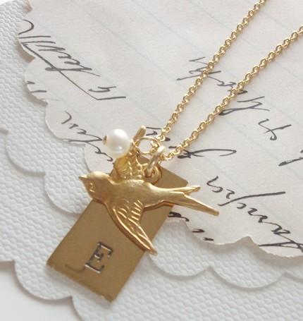 Jewelry, Bridesmaids, Bridesmaids Dresses, Fashion, gold, Necklaces, Bridesmaid, Bird, Necklace, Initial, Lovebird