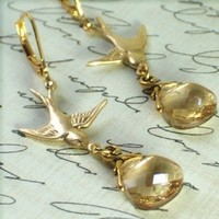 Jewelry, Bridesmaids, Bridesmaids Dresses, Fashion, gold, Earrings, Bridesmaid, Of, Bird, Honor, Maid, Lovebird