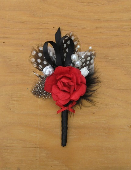 Beauty, Ceremony, Reception, Flowers & Decor, red, black, Feathers, Ceremony Flowers, Boutonnieres, Flowers, Groom, Rose, Boutonniere, Feather