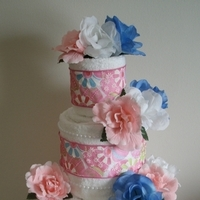 Cakes, white, pink, blue, cake, Centerpiece, Wedding shower towel cakes and more