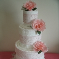 Cakes, white, pink, cake, Centerpiece, Wedding shower towel cakes and more