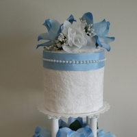 Cakes, white, blue, cake, Centerpiece, Wedding shower towel cakes and more