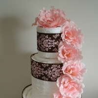 Cakes, white, pink, brown, cake, Centerpiece, Wedding shower towel cakes and more