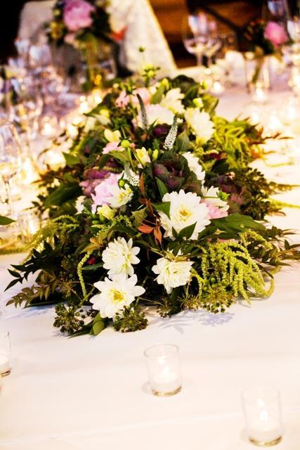 Reception, Flowers & Decor, white, pink, purple, green, Centerpieces, Flowers, Centerpiece, Long, Hanging, Peonies, Dahlias, Freesia, The blue orchid, Kale, Amaranthus