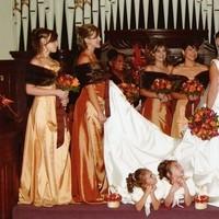 Ceremony, Flowers & Decor, Bridesmaids, Bridesmaids Dresses, Wedding Dresses, Fashion, yellow, orange, brown, gold, dress, Ceremony Flowers, Bridesmaid Bouquets, Flowers, Maximum capacity events, Flower Wedding Dresses