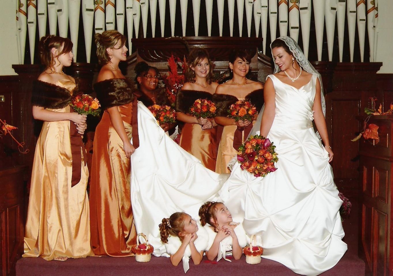 Ceremony, Flowers & Decor, Bridesmaids, Bridesmaids Dresses, Wedding Dresses, Fashion, yellow, orange, brown, gold, dress, Ceremony Flowers, Bridesmaid Bouquets, Flowers, Maximum capacity events, Flower Wedding Dresses
