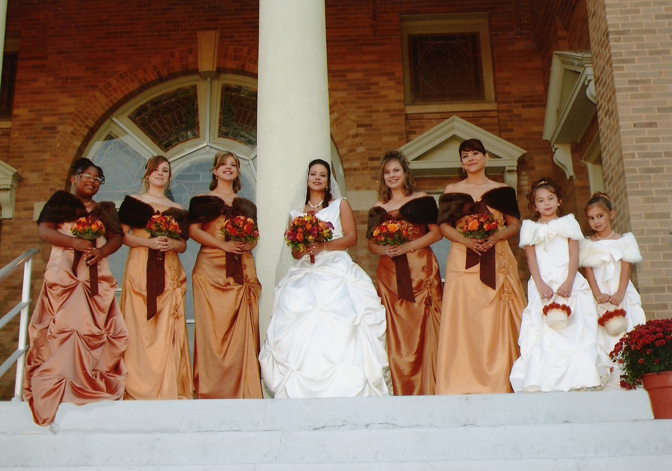 Flowers & Decor, Bridesmaids, Bridesmaids Dresses, Wedding Dresses, Fashion, yellow, orange, brown, gold, dress, Bridesmaid Bouquets, Flowers, Maximum capacity events, Flower Wedding Dresses