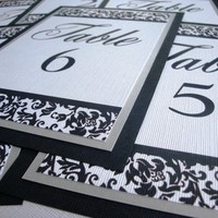 Reception, Flowers & Decor, Stationery, white, black, silver, Invitations, Table Numbers, Cards, Escort, Table, Numbers, Place, Damask, Metallic, Customizable, Invites by jen