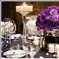 Reception, Flowers & Decor, purple, black