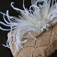 Beauty, Reception, Flowers & Decor, Jewelry, Bridesmaids, Bridesmaids Dresses, Wedding Dresses, Shoes, Vintage Wedding Dresses, Fashion, white, gold, dress, Brooches, Feathers, Vintage, Accessories, Purse, Crystal, Clutch, Brooch, Accessory, Pearl, Antique, Glamour, Feather, Belle nouvelle designs, Glamor, Feather Wedding Dresses