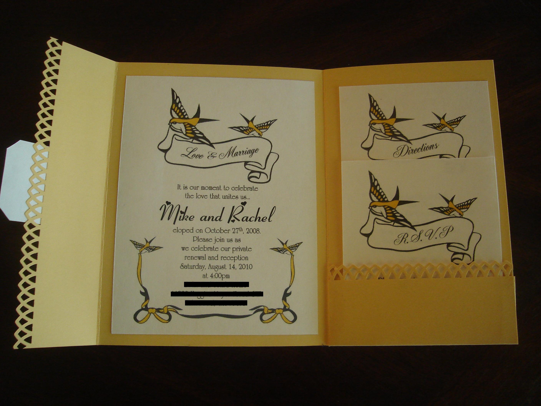Stationery, white, yellow, Invitations, Pocketfold
