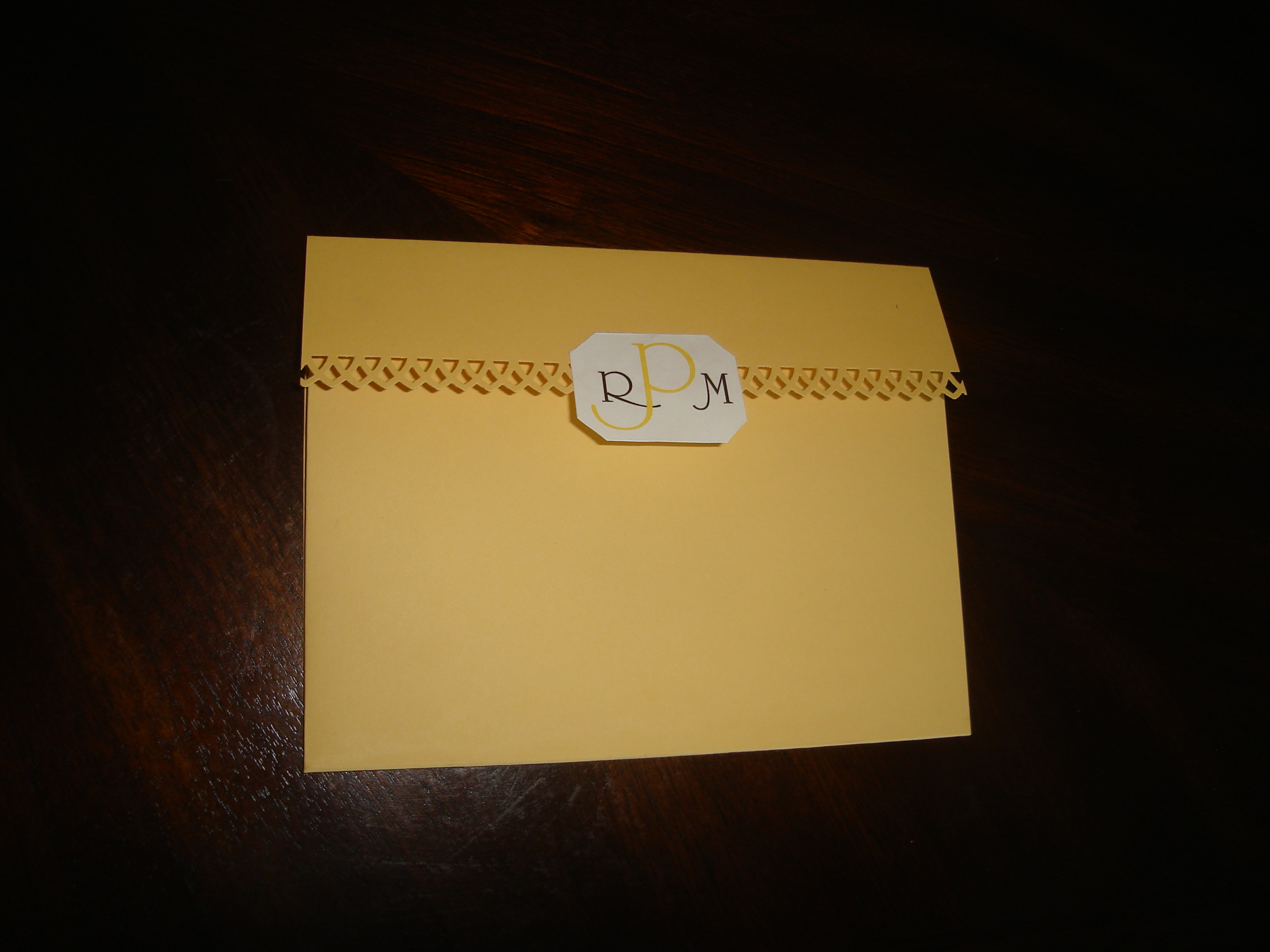 Stationery, white, yellow, Invitations, Monogram, Pocketfold